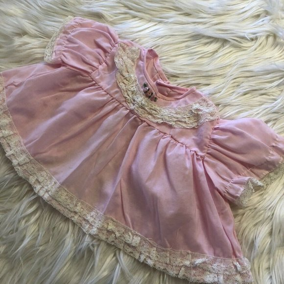 Vtg 80s Ruffled Top Lace Pink 3 Months+